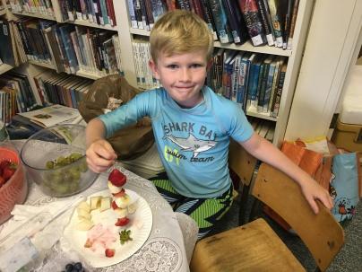 Making fruit kabobs